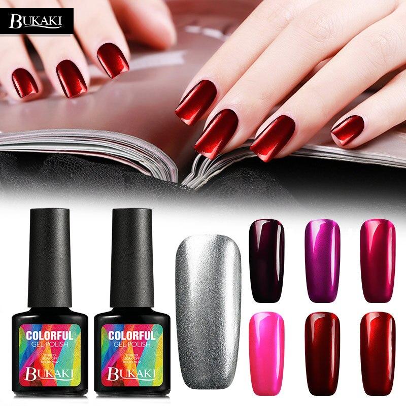 BUKAKI титановый красный Гель-лак для ногтей Блестящий УФ-гель металлические зеркала эффект клей для ногтей отмачиваемый Гель-лак грунтовка лак для дизайна ногтей