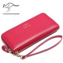 Kangourou royaume marque de luxe femmes portefeuilles en cuir véritable longue dame pochette sac à main fermeture éclair portefeuille porte-cartes