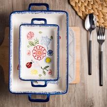 Bol de cerámica Rectangular Binaural, bandeja para arroz horneado con queso, horno de cerámica para exportación, juego de vajilla