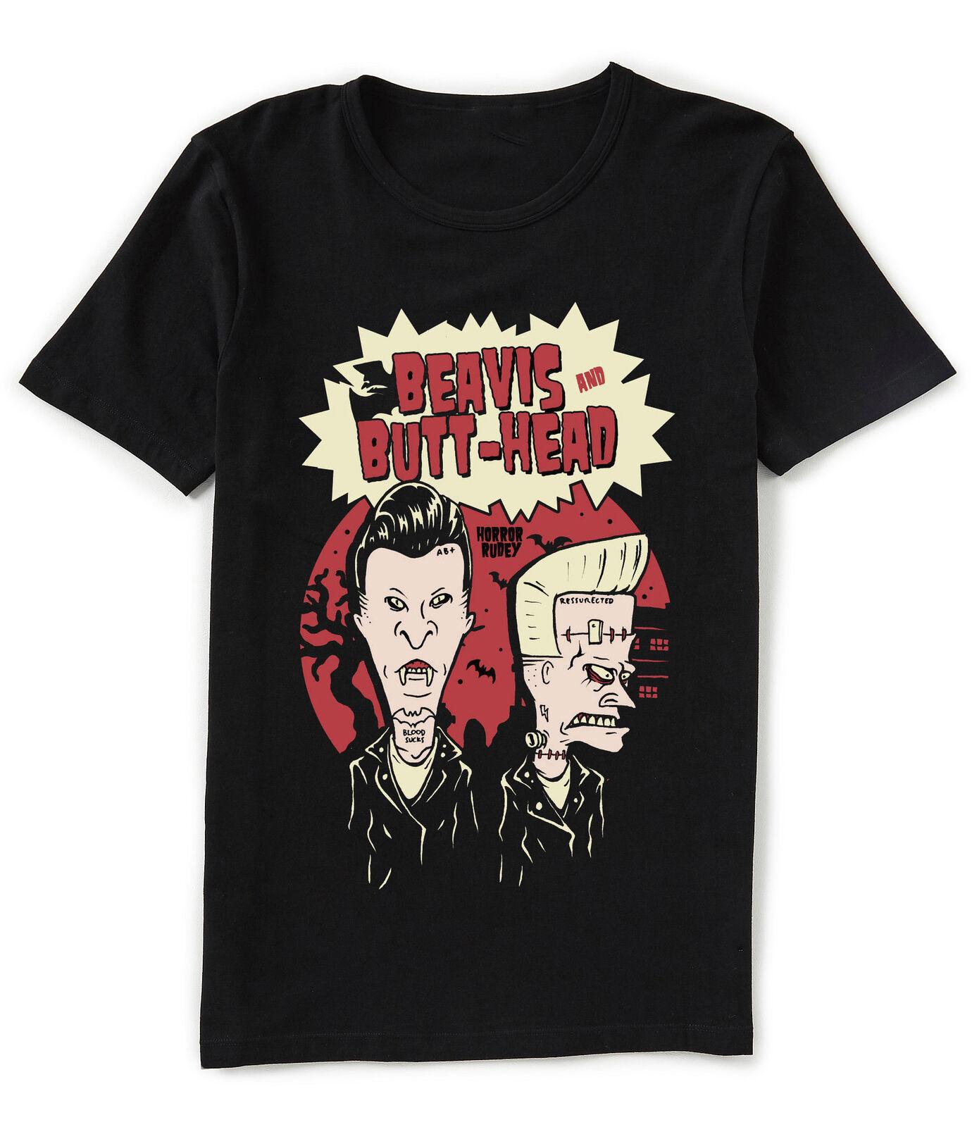 Beavis y Butthead Horror Rudey vampiro y Frankenstein camiseta negra Camiseta de algodón clásico cuello Camiseta de manga corta Camiseta