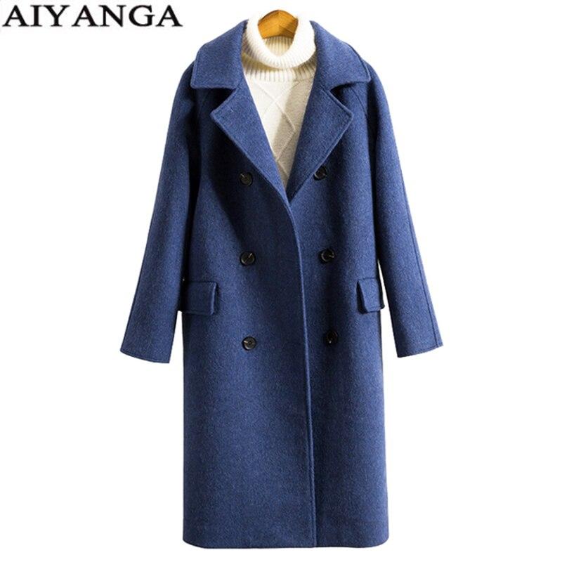 Abrigo de Cachemira larga para mujer de invierno 2018 con doble botonadura y cuello vuelto abrigo cálido de talla grande prendas de vestir de tendencia de lana para mujer