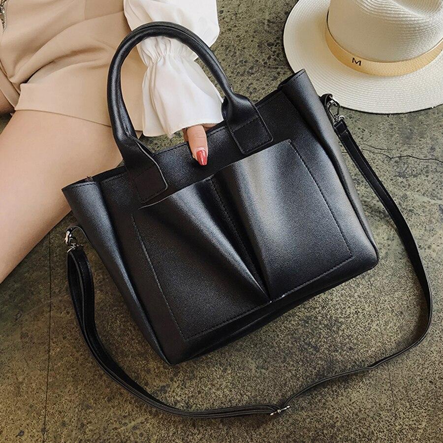 New High Quality PU Leather Women Handbags Simple Casual Woman Shoulder Bag Vintage Ladies Crossbody Bags