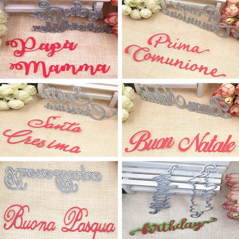Matrices de découpe en métal lettres italiennes   Modèle de pochoirs pour carte de Scrapbooking, Album gaufrage décor bricolage artisanat en métal, cadeau 2020 nouvelles