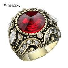 Hot Vintage Punk Rock rouge bleu Satellite pierre anneaux pour les femmes de luxe antique or couleur anneau de mariage bijoux livraison gratuite