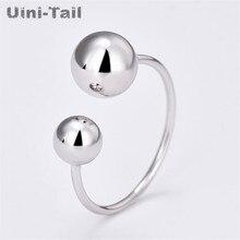Uini-tail hot nouveau 925 en argent sterling simple doux lisse taille boule anneau ouverture réglable mode marée flux bijoux ED286