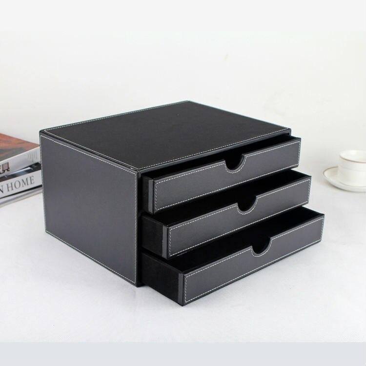 3-layer 3-درج الخشب عرقلة Blac الاصطناعية مكتب جلدي خزانة الملفات صندوق تخزين مكتب منظم وثيقة الحاويات 217A