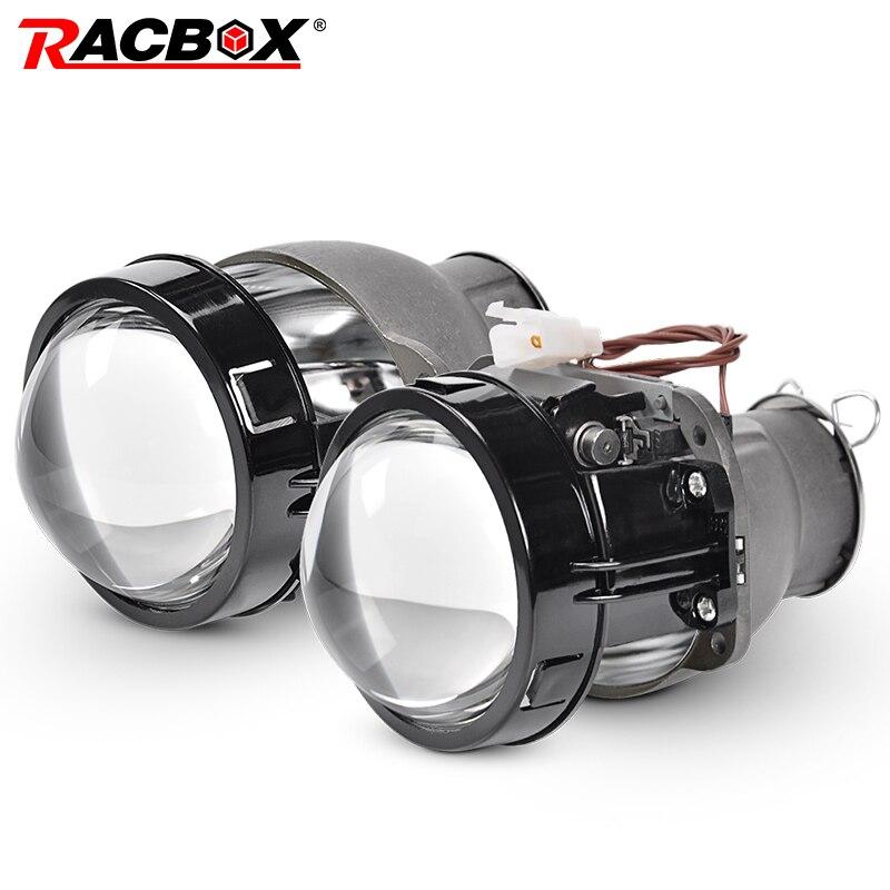 RACBOX 2 uds 3 pulgadas Estilo Redondo Q5 actualización Hi/low Beam lente del proyector HID bi-xenon para la modificación H7 faro D2S D4S D1S D3S bombilla