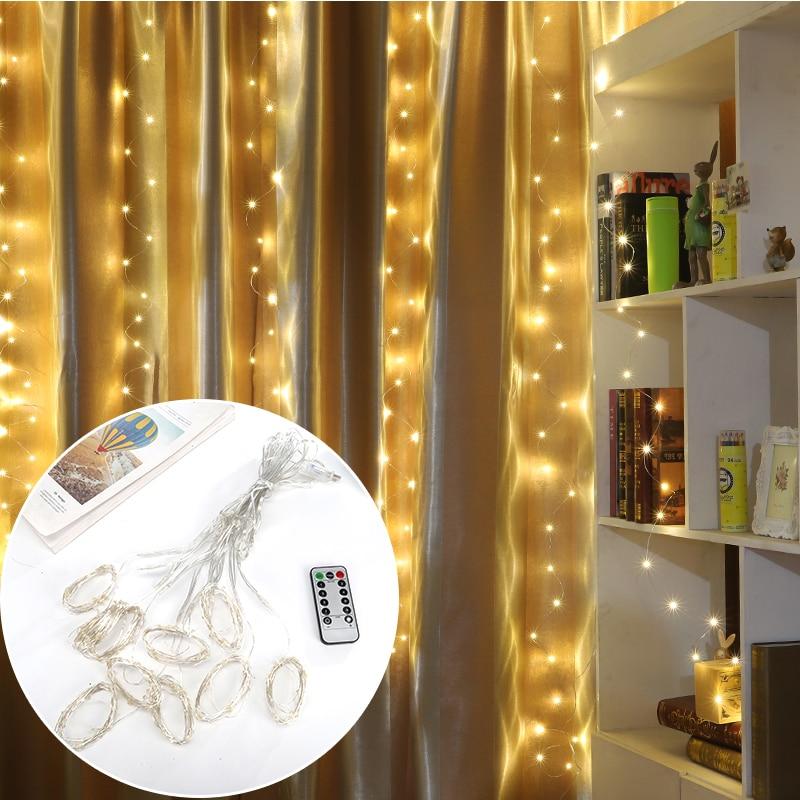 Yijinsky 3 M * 3 M LED de alambre de cobre Alambre de cortina luces USB Wareproof para la boda de Navidad vacaciones al aire libre jardín interior decoración