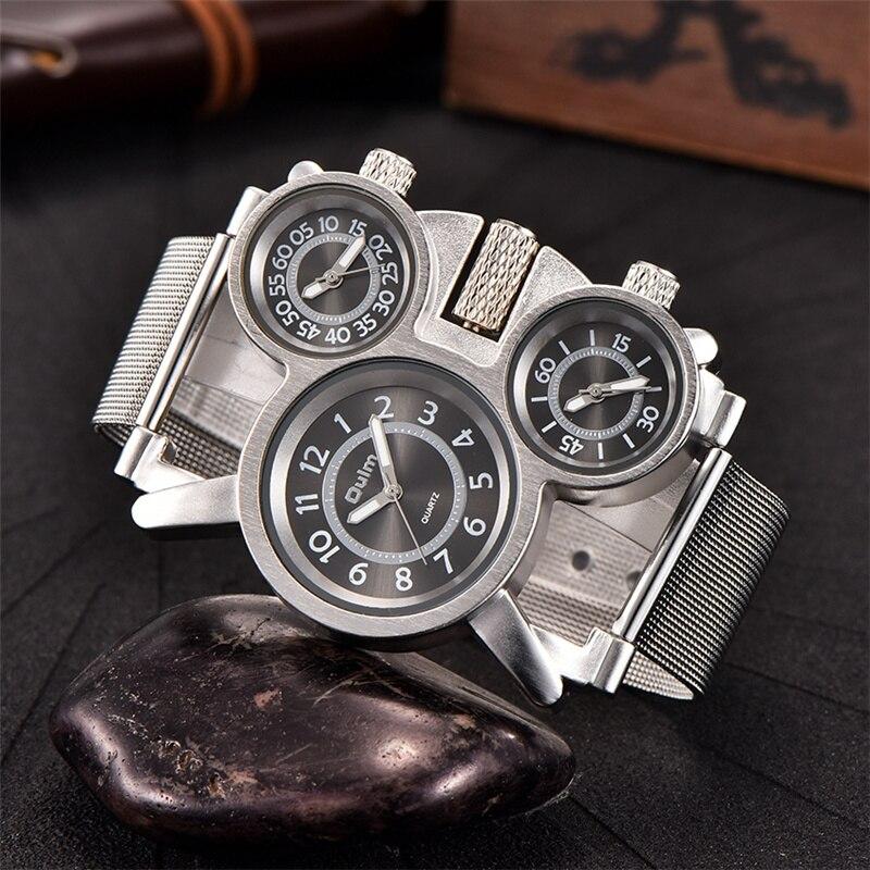 Reloj de zona horaria múltiple Oulm, correa de malla de acero para hombre, carcasa de aleación, tres relojes deportivos para hombre, reloj de pulsera de marca de lujo
