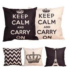 Funda de cojín Retro Crown Paris blanco y negro de lino y algodón para el hogar