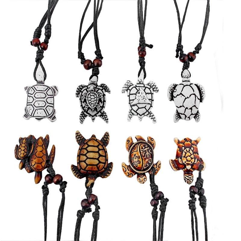 Viele stile weiß braun Ethnische Tribal Faux Yak Knochen Meer Schildkröte Anhänger Halskette schildkröte halsketten einstellbare seil kette harz