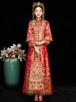 high quality brides wedding dress qipao red chinese dress cloth add diamond chinese traditional dress