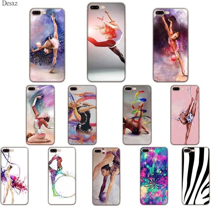 Gerleek pintura chica deporte gimnástico estilo colorido para iPhone11 ProMax 6 6S 5 5S SE XR X XS MAX 8 7 6 Plus cubierta