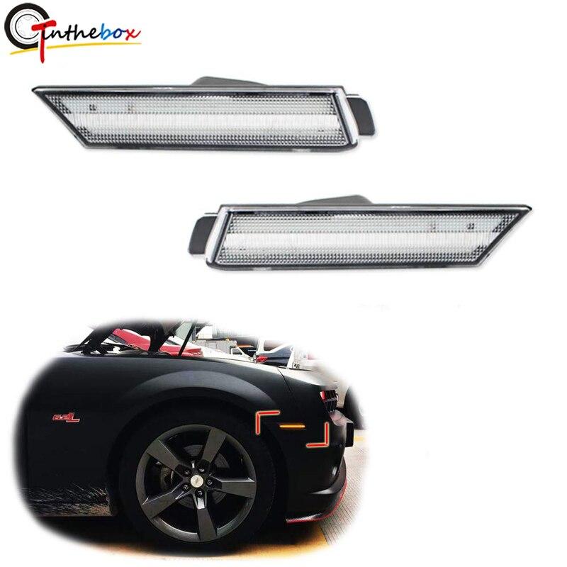 Gtinthebox 3D lente clara/ahumada ámbar 24-SMD LED parachoques delantero lado marcador lámparas Kits para 2010-2015 chevrolet Chevy Camaro