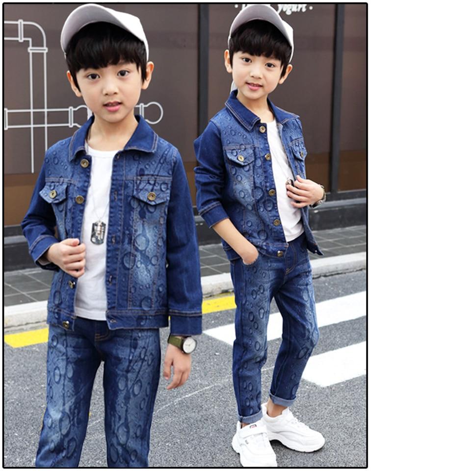Boys Clothes Baby Boy Clothing Set Cool Suits Denim Jackets + Pants 2 Pcs Boys Tracksuit Sets Teenager Boy Jeans Coat And Pants