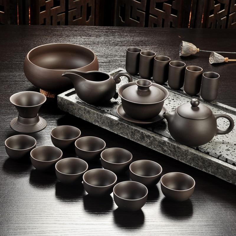 Исин фиолетовый песок чайный набор черный/красный керамический чайник кунг-фу, ручной работы Фиолетовый песок чайный сервиз gaiwan Tureen чайная ...