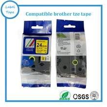 5pk/lot Compatible Brother Tz 24mm Tze 651 tz651 tz 651 tz-651 tze651 ruban détiquettes laminé noir sur jaune