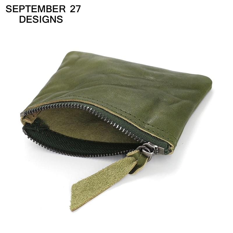Coin Purse Women Top genuine leather cowhide Female retro min change purses vintage simple small wallet card case money bag