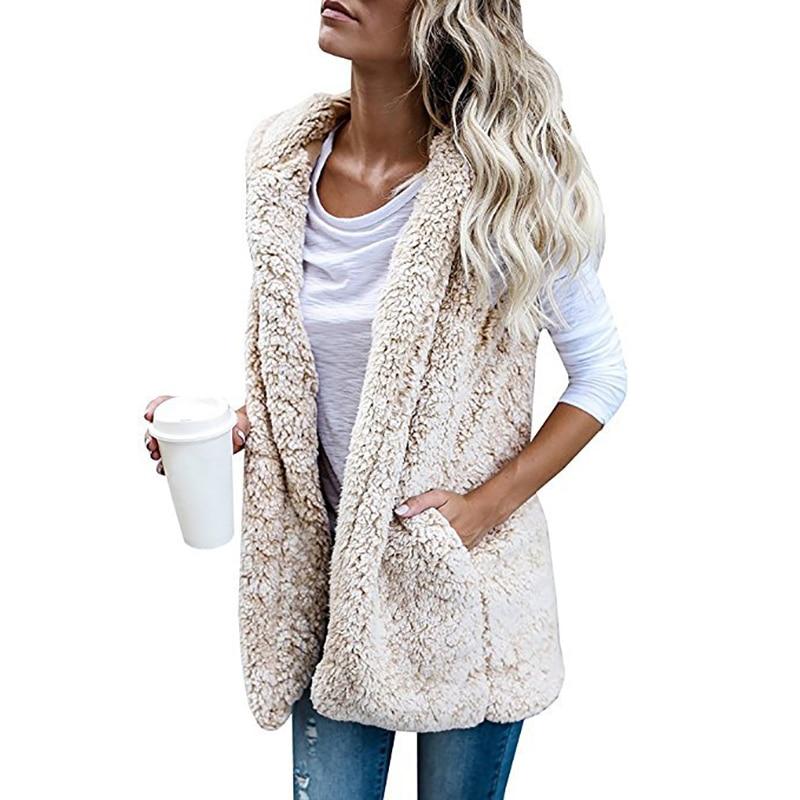 Naiveroo, chaqueta con capucha gruesa y caliente para mujer, abrigo de invierno otoño sin mangas, chaleco de piel sintética, chaqueta de abrigo, chaleco de piel para mujer