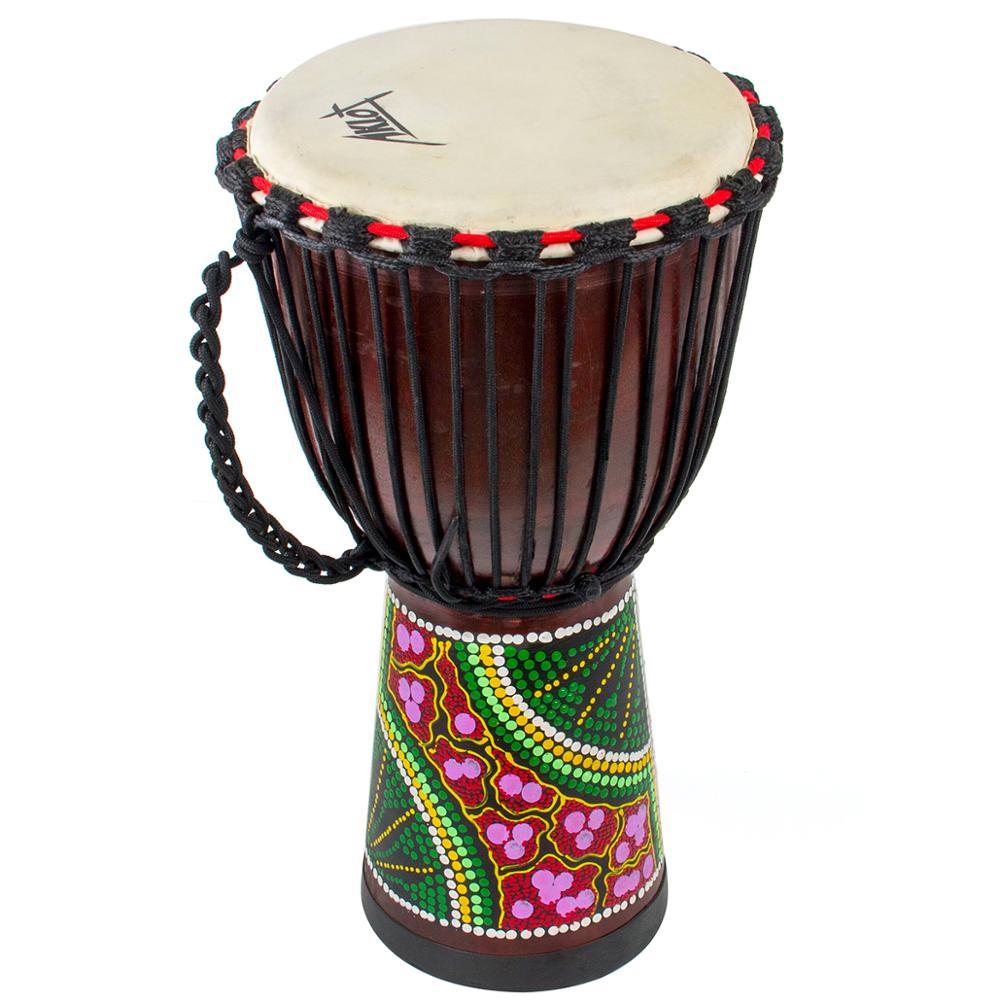 AKLOT Djembe African Hand Drum Percussion Mahogany Standard 10 inch Goat Skin Drumhead