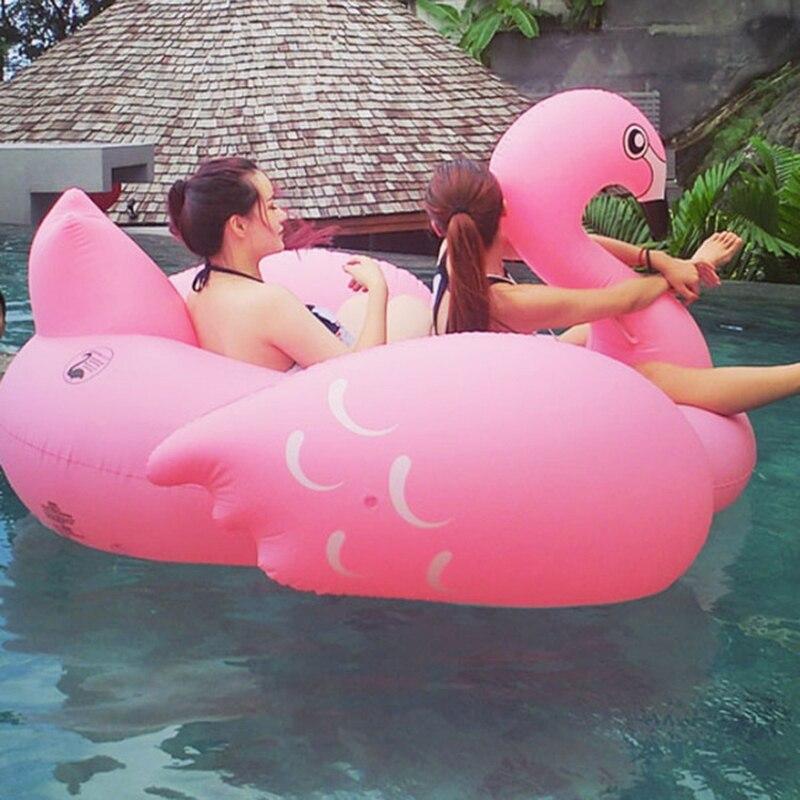 70 polegada 190cm inflável gigante flamingo passeio-na piscina flutuante brinquedos de água crua nadar anel para adulto criança cadeira colchão de ar espreguiçadeira