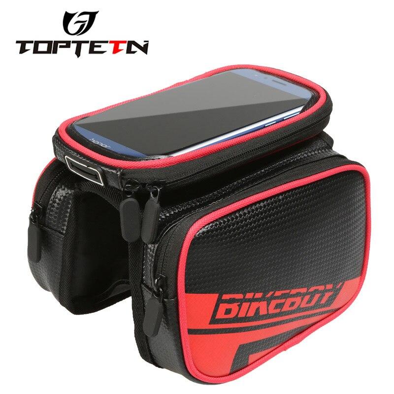 Bolsa de tubo TOPTETN para bicicleta, impermeable, a prueba de viento, paquete de bicicleta, diseño de pantalla táctil para teléfono móvil de 6,2 pulgadas, funda para teléfono inteligente