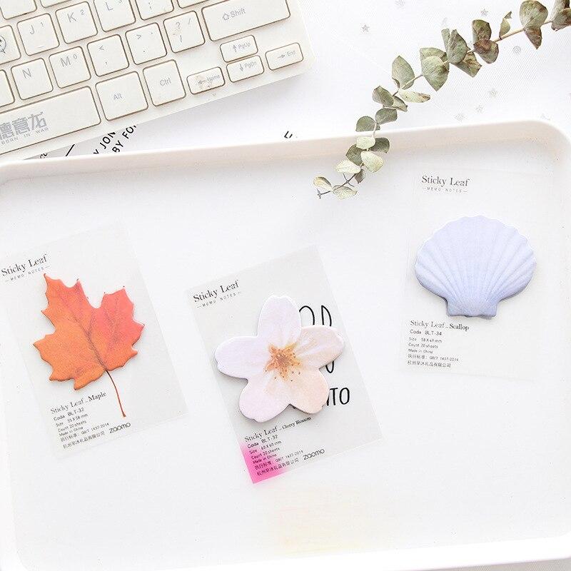 20 hojas de papel lindo Kawaii Bloc de notas adhesivas creativo de arce shell flor hoja Post nota para niños papelería regalo escuela suministros