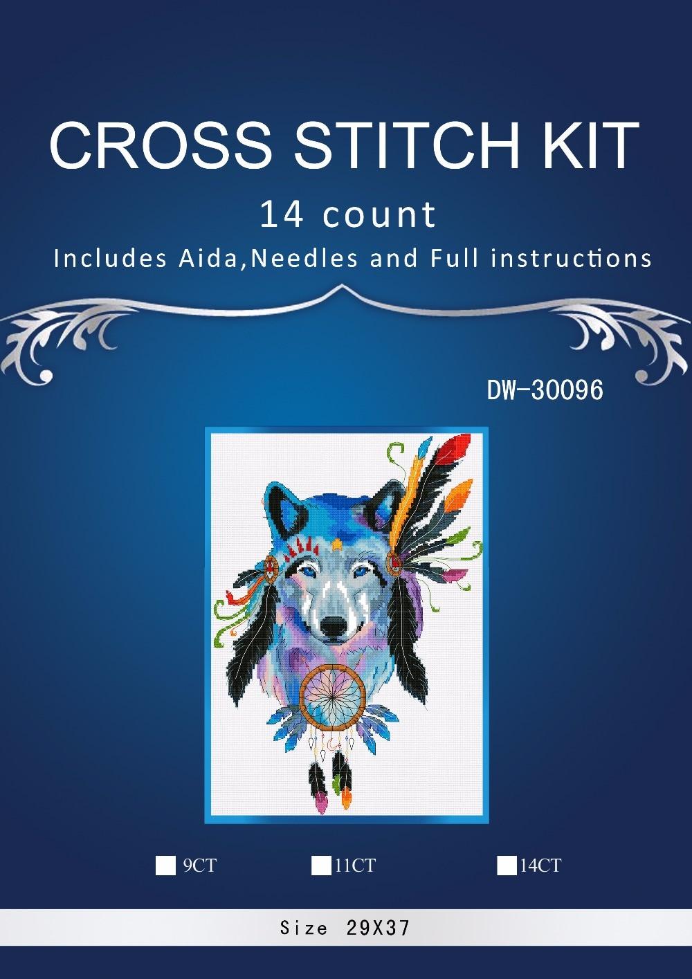 Envío Gratis, Kit de punto de cruz de alta calidad con cuentas, pluma colorida, tótem de lobo indio, Animal Noble
