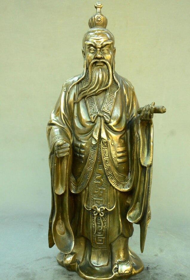 Estatua del Señor de bronce del templo chino Lao Zi viejo hombre de la caldera demasiado arriba viejo dios Dios fraile