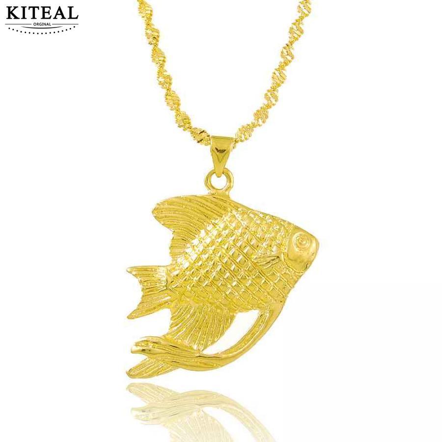 ¡KITEAL pierde promociones de dinero! Collar con colgante de dama color oro puro