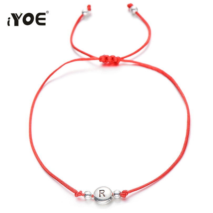 IYOE Vintage Style 26 Letters Beaded Charm Bracelet For Women Kids String Rope Red Lucky Initials Na