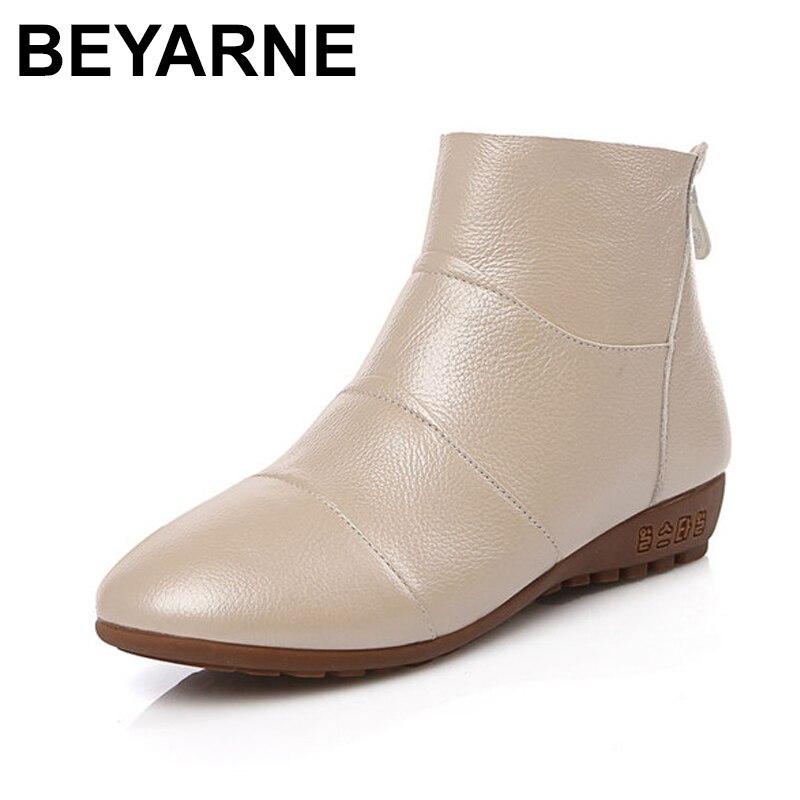 ¡Novedad de 2018! Botas planas de BEYARNE para otoño e invierno con cremallera y punta redonda, botas de tacón bajo, cómodas botas de cuero genuino