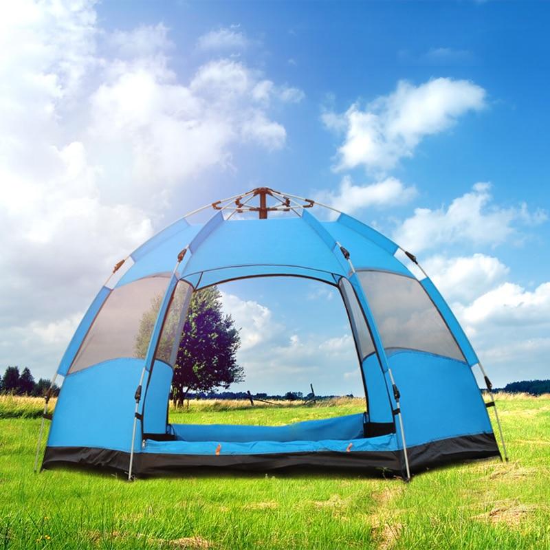 Tienda de campaña automática resistente al agua de 6 ° ángulo para 3-4 personas tienda de campaña de apertura rápida tienda de campaña para acampar en familia al aire libre tienda de campaña turística