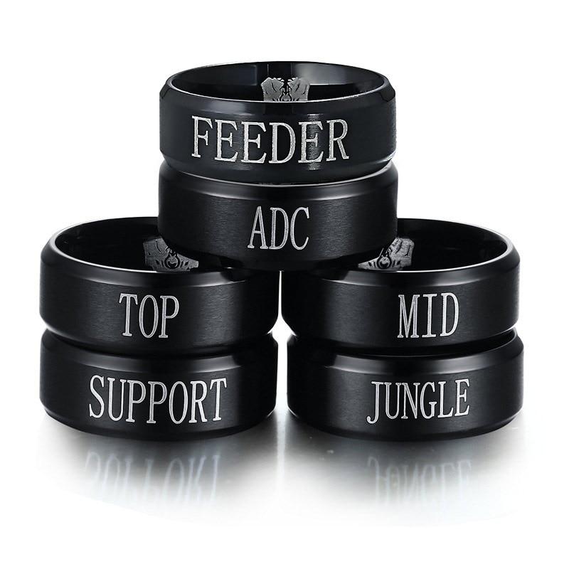 Juego periférico de animé anillo para hombres y mujeres negro Acero inoxidable anillo LOL equipo anillo, Superior selva Adc medio soporte grabado