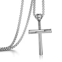 new sporty baseball necklaces pendants jewelry classic silver color cross pendant necklace men women jewelry bijoux gifts