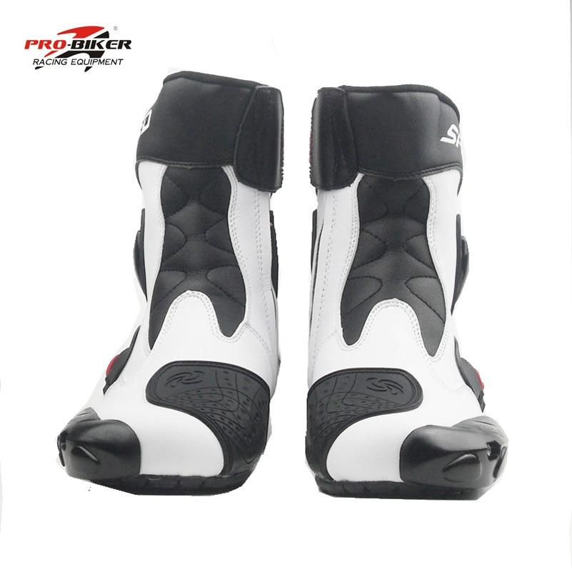 أحذية بوت للرجال Pro-biker موديل rcycle ، أحذية بوت للرجال ، أحذية بوت للسباق ، أحذية بوتات لركوب الدراجات النارية ، أسود أبيض