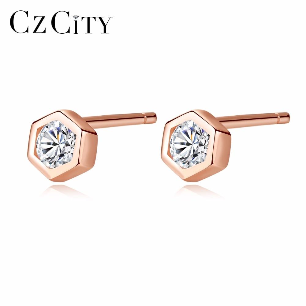 CZCITY Small Geometric Cubic Zirconia Stud Earrings for Women Rose Gold Color Sterling Silver 925 Hexagon Earrings Jewelry
