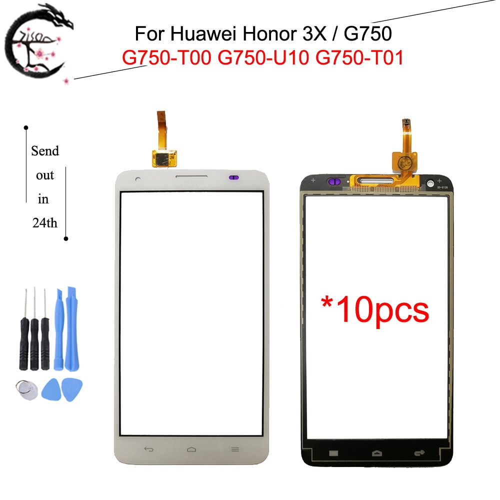 Panel táctil de 10 piezas para Huawei Honor 3X G750 G750-U10 G750 T01 T00 vidrio de pantalla táctil con Cable flexible FPC honor3X Sensor digitalizador