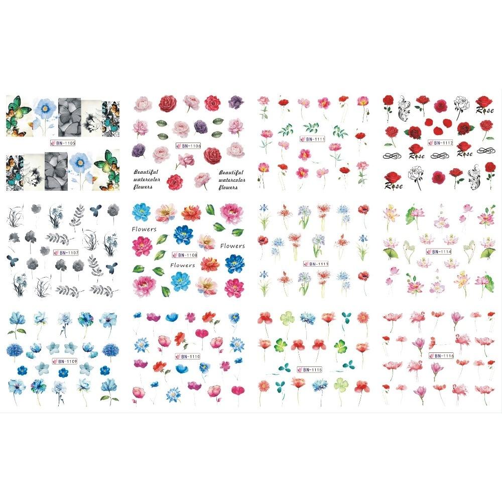 UPRETTEGO-pegatinas manicura para uñas, 12 pack/lote, cubierta completa de flores, MAGNOLIA, YUCCA,...
