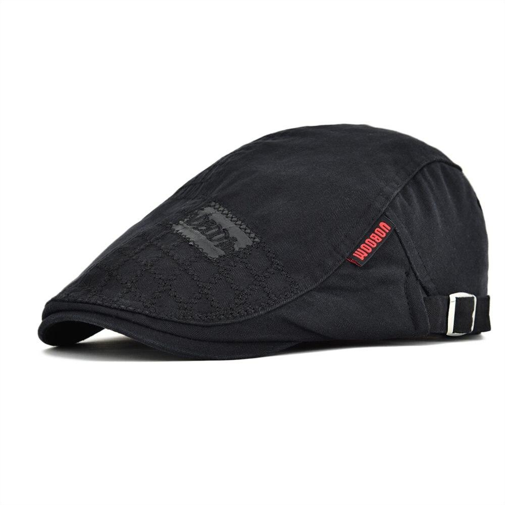 VOBOOM negro Golf Boina plana hombres algodón Newsboy gorras Cabbie sombrero masculino Gatsby Boina sombreros resorte ajustable otoño Boina 100