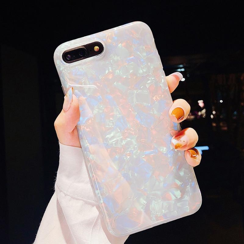 Роскошный мягкий силиконовый чехол с раковиной для iPhone 6 6S 7 8 Plus X XR XS Max, задняя крышка для Samsung Galaxy S7 Edge S8 S9 Plus, чехлы