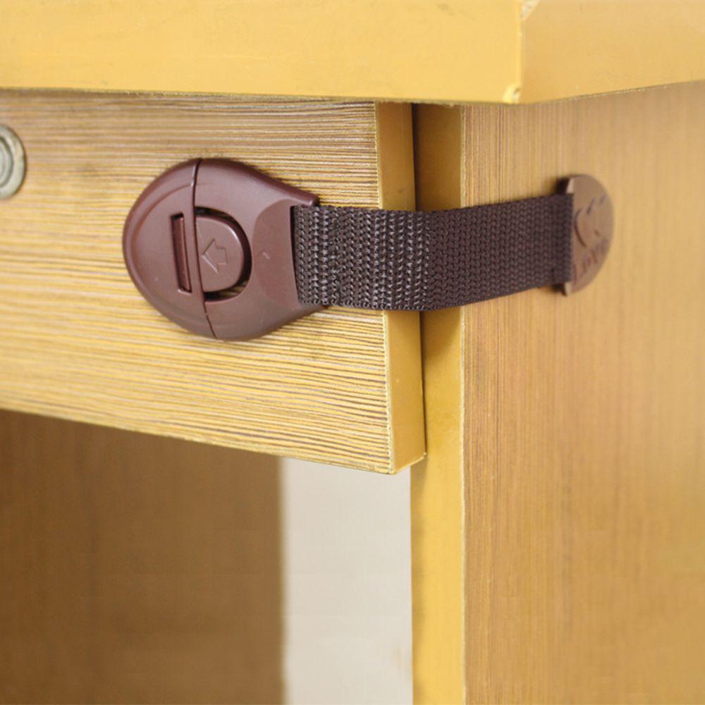 10 unids/lote marrón de cerradura de seguridad para el bebé de puerta de muebles cerradura de cajón frigorífico cerraduras de seguridad a prueba de niños bebé Protector