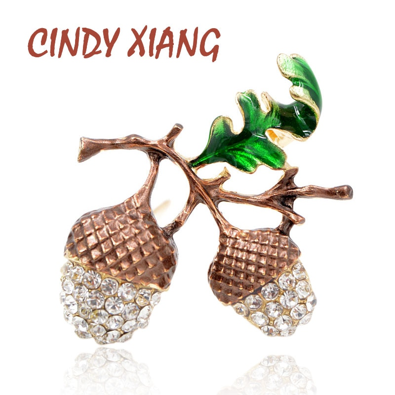 CINDY XIANG New Arrival Pine Nuts Brooches for Women Cute Plant Brooch Pin Enamel Leaf Green Color F