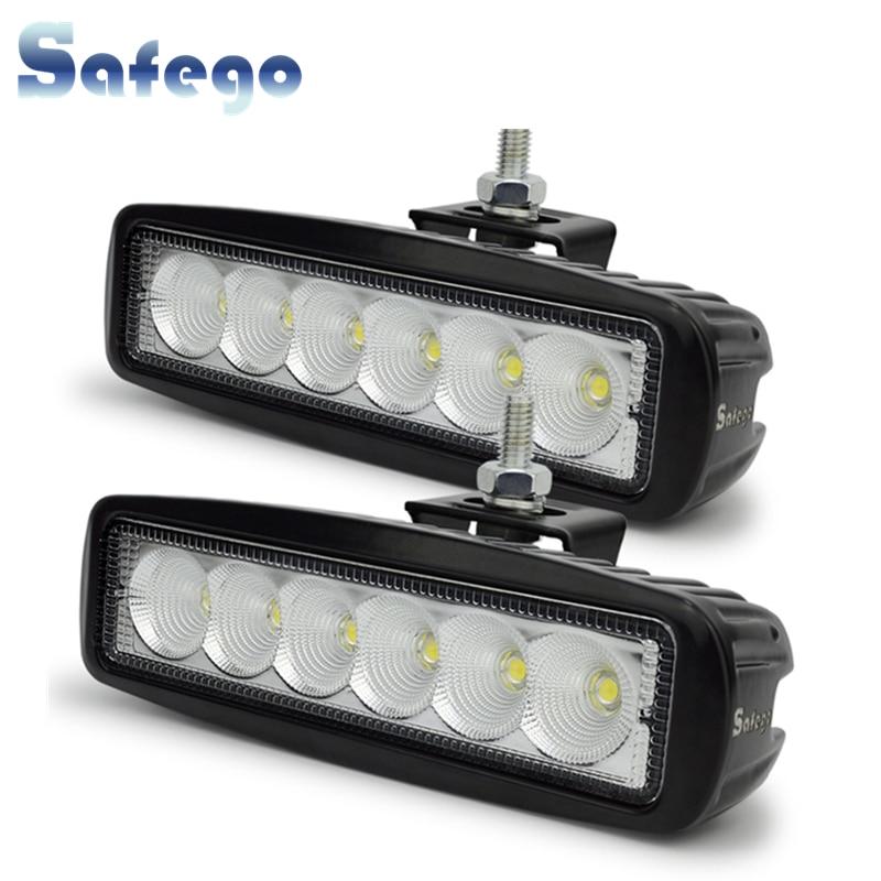 Safego 2x12 Volt 18W LED arbeit licht bar lampe traktor arbeit lichter LED off road 4X4 24V led offroad licht bar spot flut strahl