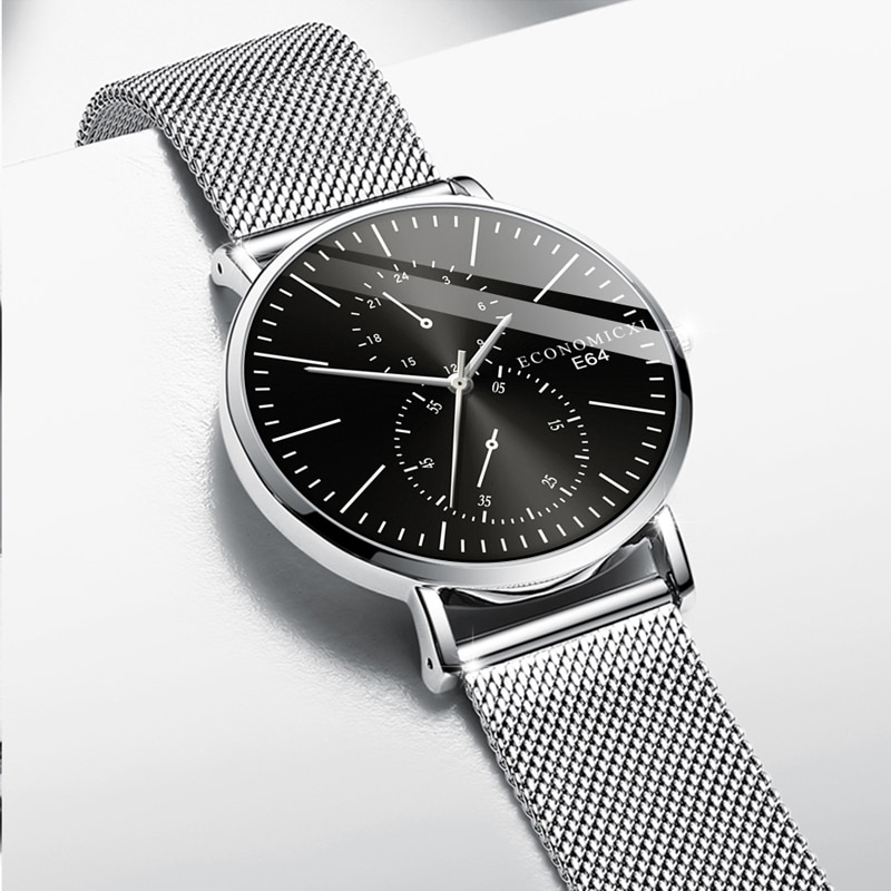 Reloj Retro para hombre con diseño de lujo de cuarzo, reloj de pulsera con correa de malla, reloj de pulsera moderno, reloj Masculino