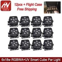 12 pièces smart dj par 6 led * 18 w 6in1 RGBWAUV batterie dmx sans fil wifi uplight de mariage