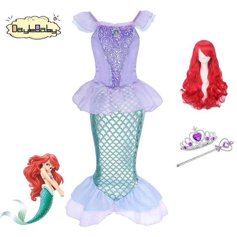 Daylebaby pequena sereia princesa ariel traje menina fantasiar-se fantasia linda vestido brilhante lantejoulas sereia caudas festa de férias traje