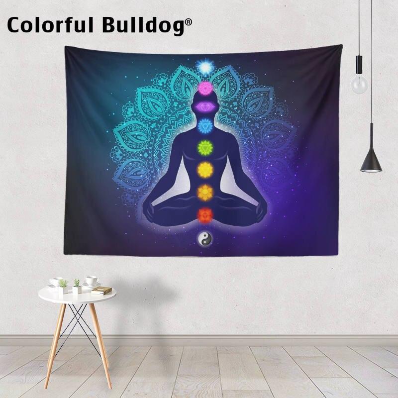 Гобелены в форме сердца, чакр, Йога, медитация, акварель, мандала, настенная подвеска, искусство на стену, Триппи гобелен, третий глаз, покрывало для комнаты|Гобелен| | АлиЭкспресс