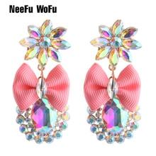 Pendientes grandes de cristal con diamantes de imitación NeeFu WoFu, colgantes de flores, piña, aleación de Zinc, pendientes largos con impresión de oreja, Oorbellen