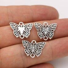 JAKONGO antyczne posrebrzane motylkowe wisiorki złącza do wyrobu bransoletki Handmade DIY biżuteria akcesoria 16x20mm 10 sztuk